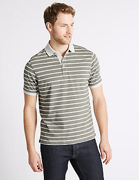 Pure Cotton Striped Polo Shirt, ECRU MIX, catlanding