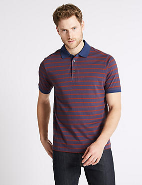 Pure Cotton Striped Polo Shirt, , catlanding