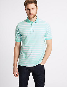 Pure Cotton Striped Polo Shirt, SOFT TURQUOISE, catlanding