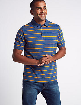 Pure Cotton Striped Polo Shirt, OCHRE, catlanding