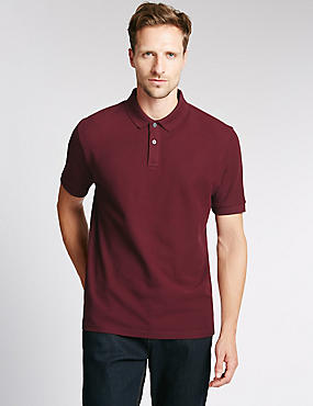 Regular Fit Pure Cotton Polo Shirt with StayNEW™