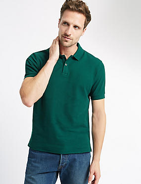 Slim Fit Polo Pure Cotton Shirt with StayNEW™