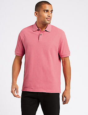 Pure Cotton Pique Polo Shirt, PINK MIX, catlanding