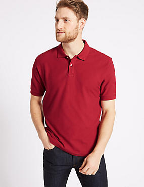 Pure Cotton Pique Polo Shirt, RED, catlanding