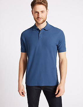 Pure Cotton Pique Polo Shirt, DARK DENIM, catlanding