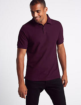 Pure Cotton Pique Polo Shirt, PURPLE, catlanding