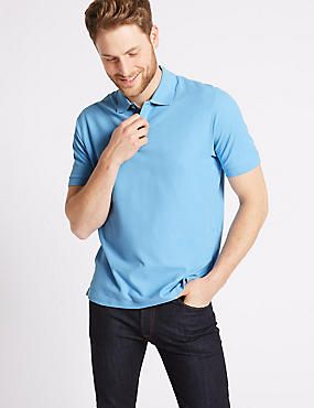 Pure Cotton Pique Polo Shirt, BLUE, catlanding