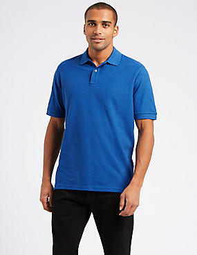 Pure Cotton Pique Polo Shirt, BRIGHT BLUE MIX, catlanding