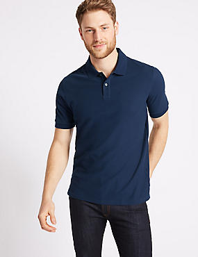 Pure Cotton Pique Polo Shirt, NAVY, catlanding