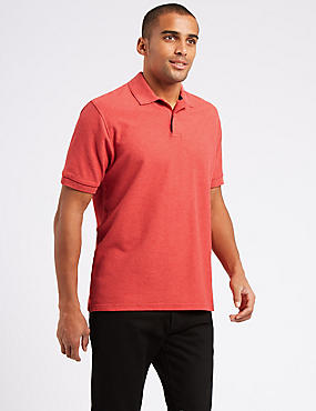 Pure Cotton Pique Polo Shirt, FLAME, catlanding