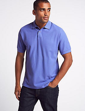 Pure Cotton Pique Polo Shirt, DARK LILAC, catlanding