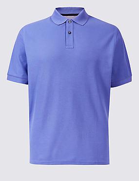 Pure Cotton Pique Polo Shirt, DARK LILAC, catlanding