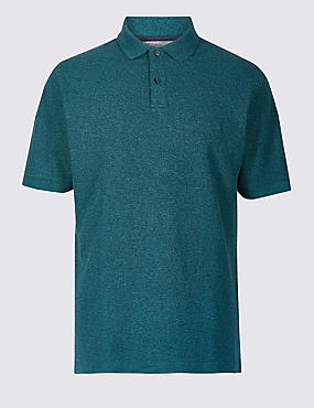 Pure Cotton Pique Polo Shirt, SOFT TEAL, catlanding