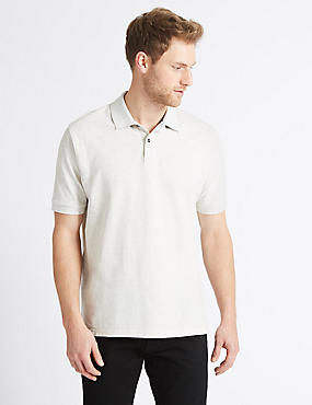 Pure Cotton Pique Polo Shirt, ECRU MIX, catlanding