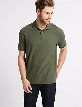 Pure Cotton Pique Polo Shirt, MEDIUM KHAKI, catlanding