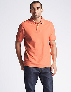 Pure Cotton Pique Polo Shirt, PEACH MIX, catlanding