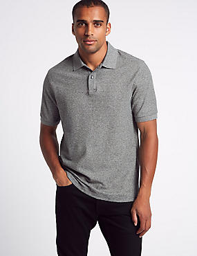 Pure Cotton Pique Polo Shirt, CHARCOAL MIX, catlanding