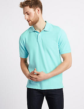 Pure Cotton Pique Polo Shirt, SOFT TURQUOISE, catlanding