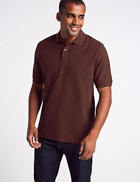 Pure Cotton Pique Polo Shirt, RUST MIX, catlanding