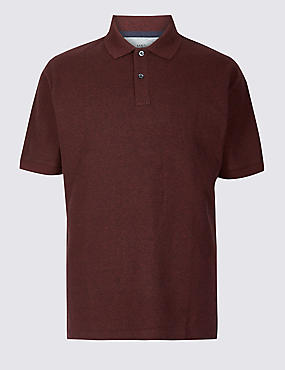 Pure Cotton Pique Polo Shirt, RUST MIX, catlanding