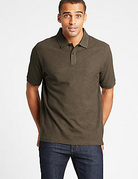 Pure Cotton Pique Polo Shirt, BROWN MARL, catlanding