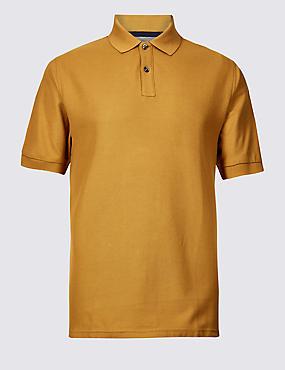 Pure Cotton Pique Polo Shirt, OCHRE, catlanding