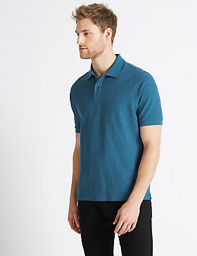 Pure Cotton Pique Polo Shirt, TEAL MIX, catlanding