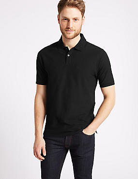 Pure Cotton Pique Polo Shirt, BLACK, catlanding
