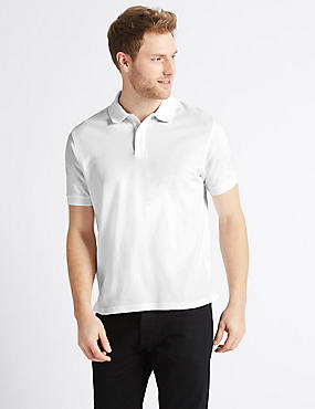 Pure Cotton Pique Polo Shirt, WHITE, catlanding