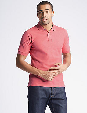 Slim Fit Pure Cotton Polo Shirt, PINK MIX, catlanding