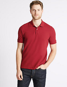 Slim Fit Pure Cotton Polo Shirt, RED, catlanding