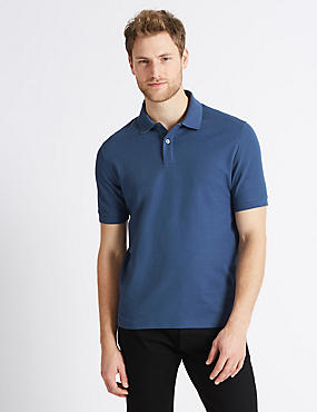Slim Fit Pure Cotton Polo Shirt, DARK DENIM, catlanding