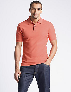 Slim Fit Pure Cotton Polo Shirt, FLAME, catlanding