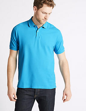 Slim Fit Pure Cotton Polo Shirt, AQUA, catlanding