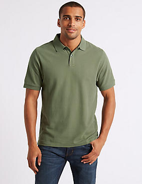 Slim Fit Pure Cotton Polo Shirt, MEDIUM KHAKI, catlanding