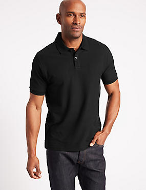 Slim Fit Pure Cotton Polo Shirt, BLACK, catlanding