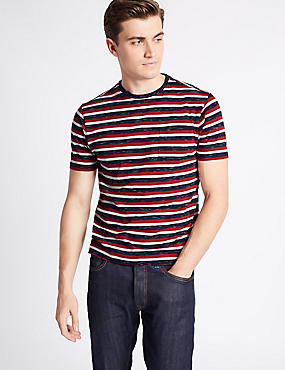 Cotton Rich Striped Crew Neck T-Shirt