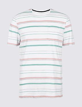 Slim Fit Pure Cotton Crew Neck T-Shirt, WHITE MIX, catlanding