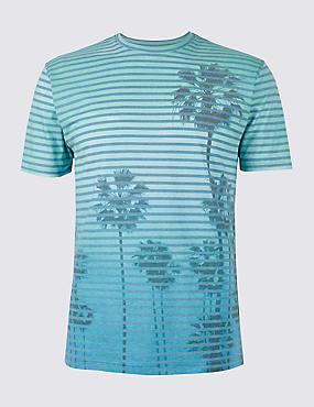 Slim Fit Cotton Blend Crew Neck T-Shirt, LIGHT BLUE MIX, catlanding