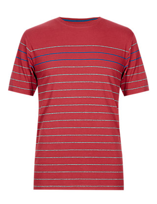 Pure Cotton Stay Soft Engineered Striped T-Shirt with StayNEW™ Clothing