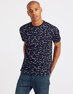 Slim Fit Pure Cotton Printed Crew Neck T-Shirt, NAVY MIX, catlanding