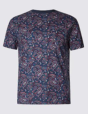 Slim Fit Pure Cotton Printed Crew Neck T-Shirt, DARK MIDNIGHT, catlanding
