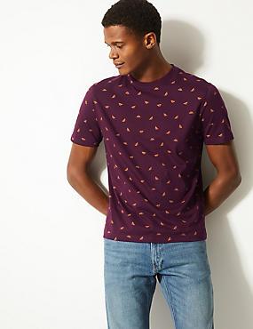 Slim Fit Pure Cotton Crew Neck T-Shirt, BURGUNDY, catlanding