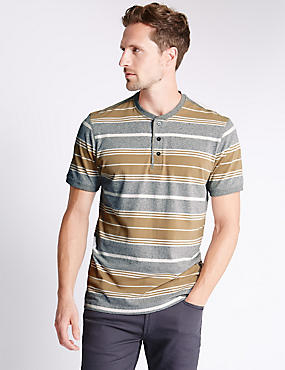 Pure Cotton Tailored Fit Stripped T-Shirt