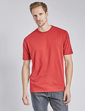 Regular Fit Pure Cotton T-Shirt with StayNEW™ & Stay Soft