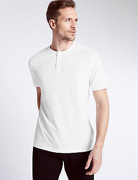 Pure Cotton Henley Crew Neck T-Shirt