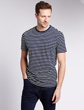 Regular Fit Pure Cotton Striped Stay Soft T-Shirt with StayNEW™