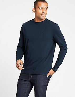 Pure Cotton Crew Neck T-Shirt, NAVY, catlanding