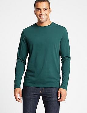 Pure Cotton Crew Neck T-Shirt, GREEN, catlanding