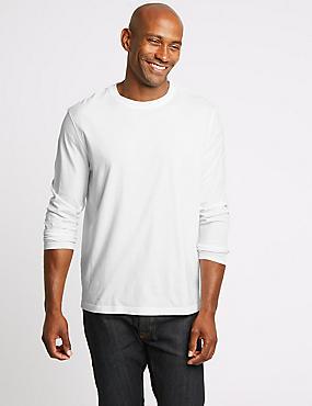 Pure Cotton Crew Neck T-Shirt, WHITE, catlanding